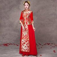 Çin Elbise Kadın Gelin Düğün Cheongsam Geleneksel Qipao Desen Oriental Robe Mariage Chinoise Kırmızı Qi Pao Antika Vintage