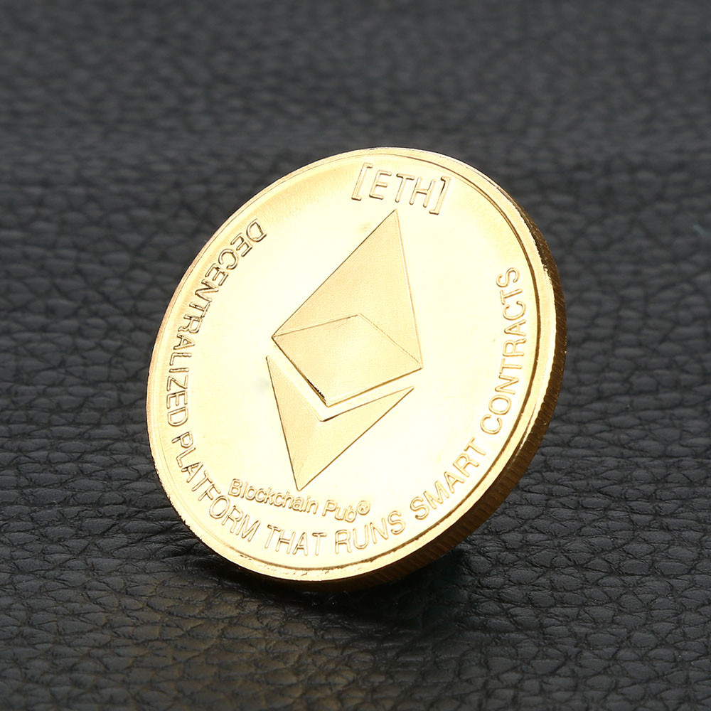 Art Gift Collection Gold Plated Commemorative Collectible Golden Iron ETH Ethereum Miner Coin Collection Drop Shipping#B0