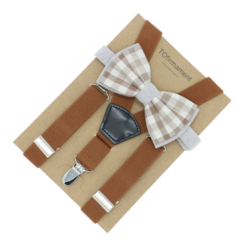 Fan Shape Leather Solid Kids Event Party Suspender Bow Tie Set Adjustable 2.5cm Width Kraft Paper Packed Baby Gift