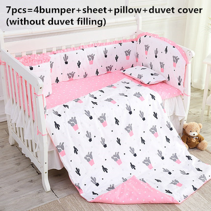 Promotion! 6/7PCS Cartoon Baby Bumper Bedding Set Cot Crib Bedding Set For Girls Boys Cuna Quilt Cover Baby Bed ,120*60/120*70cm