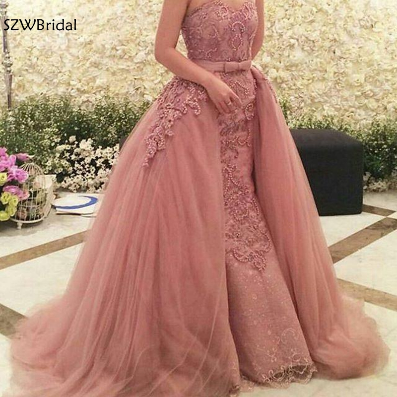 New Arrival Nude Pink Arabic Sexy   Evening     Dresses   2019 Dubai Lace Appliques Long Prom   Dresses   Party Gowns Formal   dresses