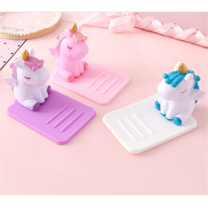 UVR Cartoon Unicorn Phone Stand Bracket Base Mobile Phone Holder Support Desk Decor Anti-slip For IPhone Huawei Samsung