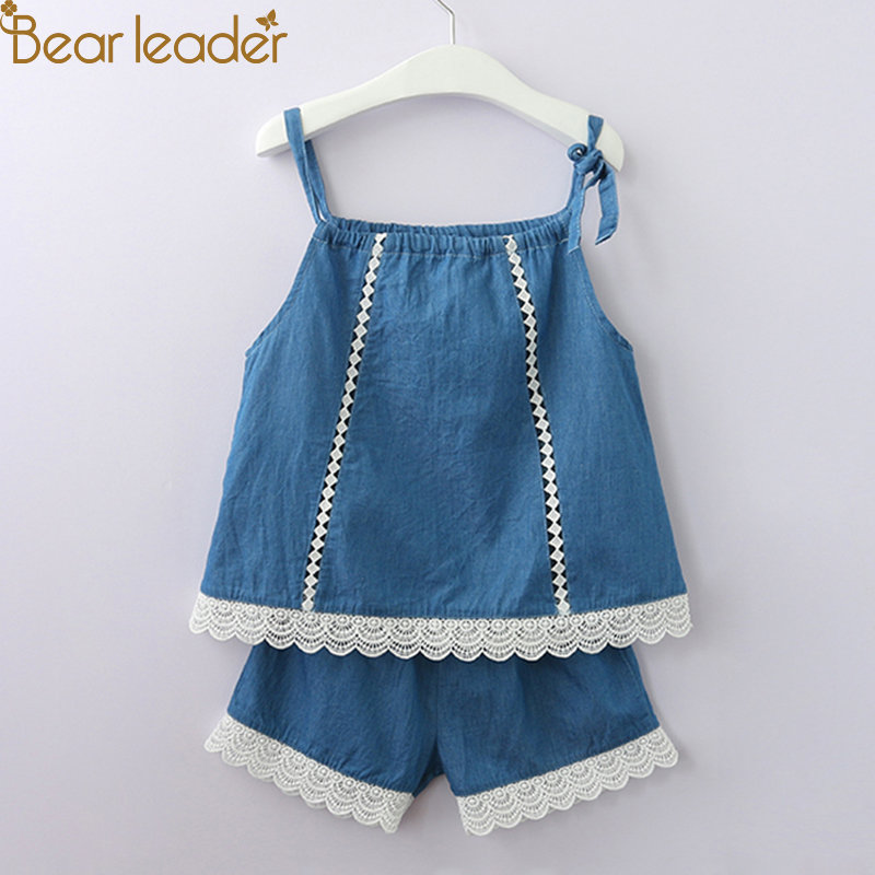 цены Bear Leader Girls Clothing Sets 2018 Summer New Korean Girl Sleeveless Lace Trim Cowboy Sling + Denim Shorts Set For 2-6 Years