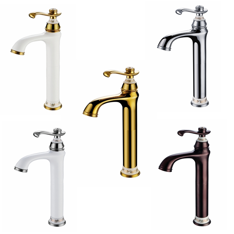 European-style High-style Basin Faucet Hot and Cold Shower Faucet Gold Single-hole Copper Baking Table Faucet AW-00 factory direct supply of stars hotel concealed embedded wall type cold and hot water shower function single copper body