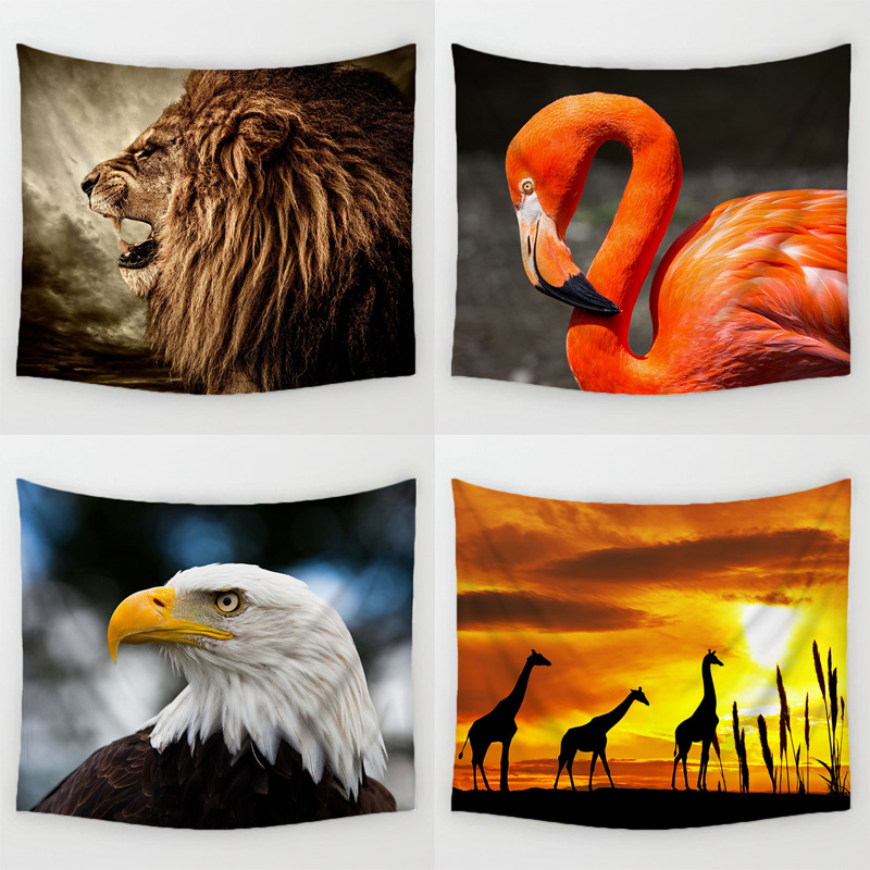 Comwarm Wlid Animal of African Savanna Wall Hanging Gobelin Mural The King Lion Flamingo Giraffe Printed Tapestry Room Decor Art