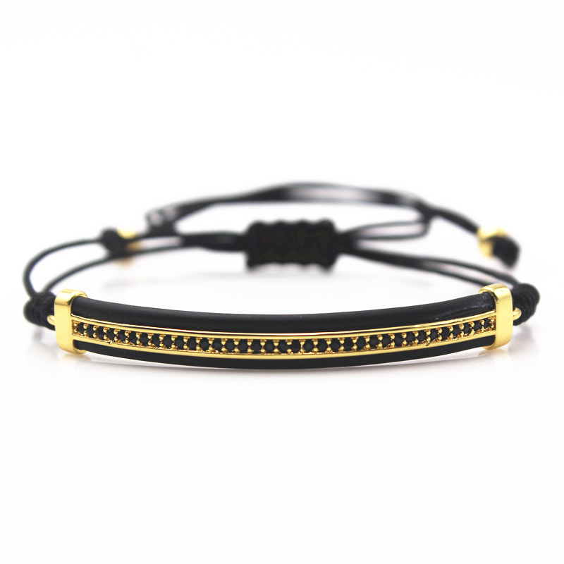 Famous Brand Mens Bracelet,Micro Pave Black CZ Beads Bangles & Bracelets For Men Gifts