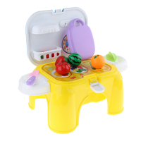 Kids Pretend Kitchen Play Food Cutting Toy for Boys Toddlers Portable Stool Including Vegetables and Fruits