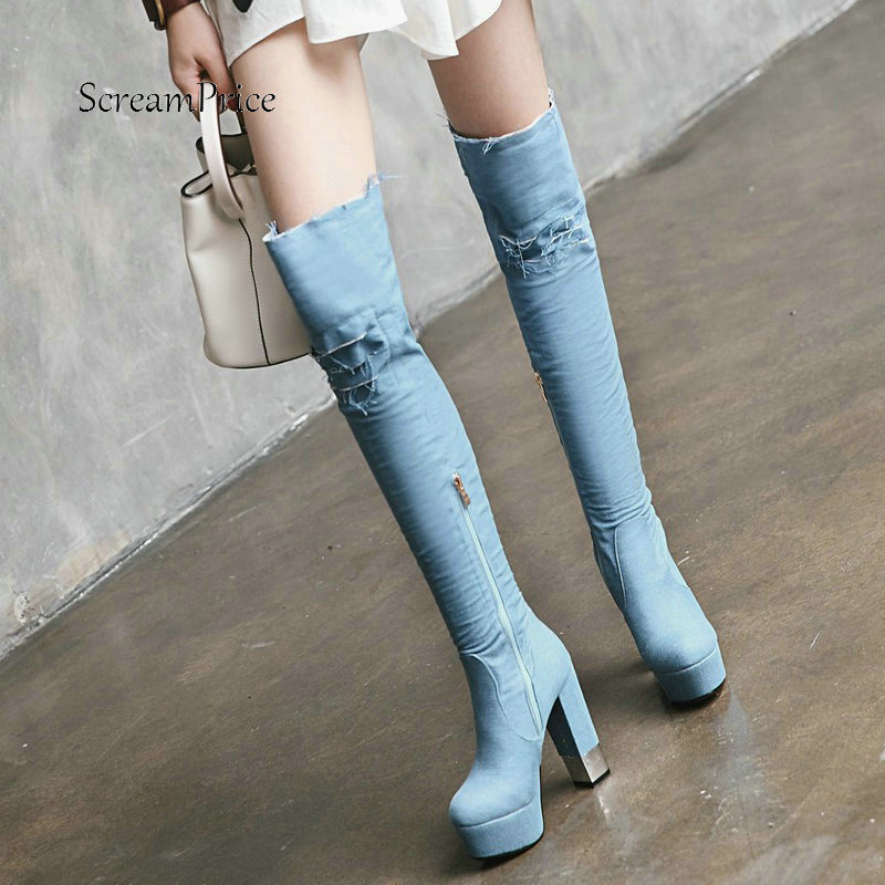 Warm Winter Fashion Holes Denim Platform With Side Zipper Over The Knee Boots Women Thick High Heel Blue Thigh Boots women platform chunky high heel over the knee boots side zipper winter warm thigh boots fashion woman shoes white black