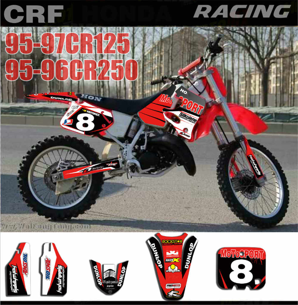 hight resolution of customized number gloss team graphics backgrounds decals stickers for honda cr250 cr 250 1995 1996 cr125