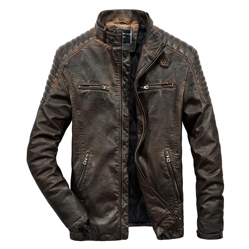 2019 nouveau rétro moto vestes en cuir synthétique polyuréthane hommes mode noir Multi poches veste mâle hiver chaud manteau-in Manteaux en cuir simili from Vêtements homme    1