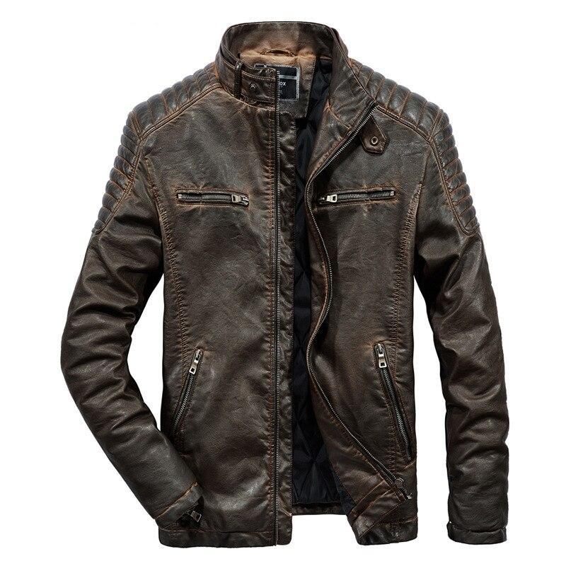 2019 جديد الرجعية دراجة نارية بو سترات من الجلد الرجال الأزياء الأسود متعددة جيوب سترة الذكور الشتاء معطف دافئ-في معاطف من الجلد الصناعي من ملابس الرجال على  مجموعة 1