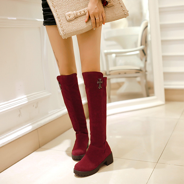 ②2014 Plus Size ᗑ Knee Knee High Boots Fashion High Heels