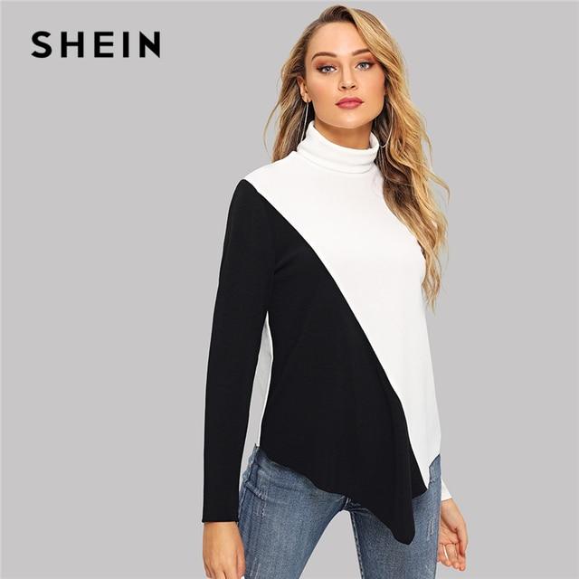 f34924a417 US $15.0  SHEIN Back And White Office Lady Elegant High Neck Two tone  Asymmetrical Hem Longline Pullover Autumn Workwear Women Sweatshirts-in  Hoodies ...