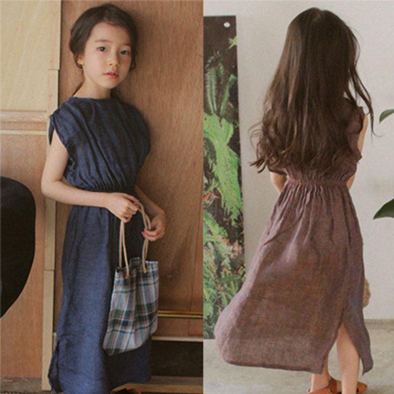 все цены на long summer teenagers dresses sleeveless little big girls dress summer cotton linen side slit blue brown children clothing
