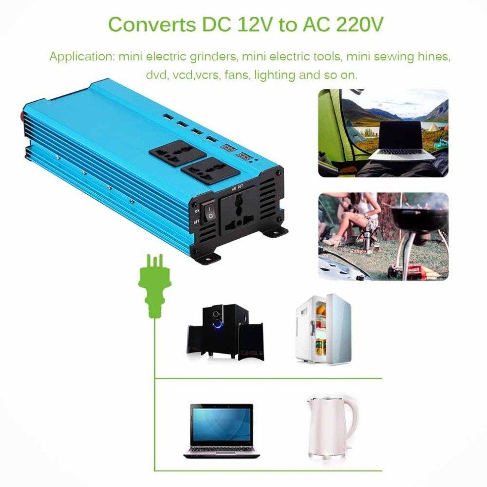 5000 W chargeur d'inverseur de puissance de voiture DC 12 V/24 V à AC 220 V convertisseur d'onde sinusoïdale Interfaces adaptateur de transformateur de tension
