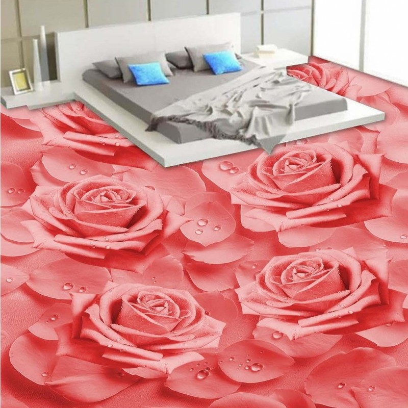 freies verschiffen nach hd warme rosa rosen 3d stereo bodenbelag badezimmer schlafzimmer selbstklebende tapete hotel boden mural - Rosentapete Schlafzimmer