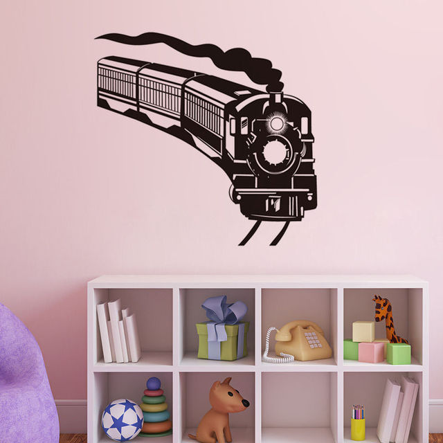 Locomotive train vinyl wall stickers decoration kids room train silhouette art wallpaper home design wall tattoo
