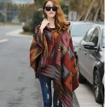 Новинка, Женское зимнее пальто с капюшоном в стиле бохо, накидка, пончо, женские шали, женский кашемировый клетчатый шарф, кашемировый шарф, Bufanda Mujer