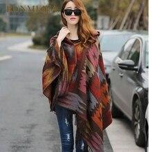 ФОТО [runmeifa] women bohemian hooded coat cape poncho shawl scarf tribal fringe hoodie jacket