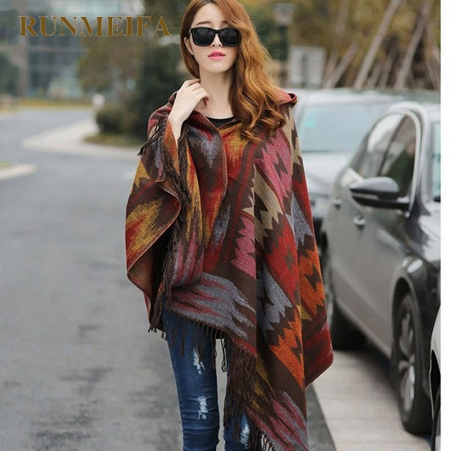 RUNMEIFA для женщин зимние богемные пальто с капюшоном накидка обёрточная бумага пончо шаль шарф хлопок и акрил Племенной бахрома новая