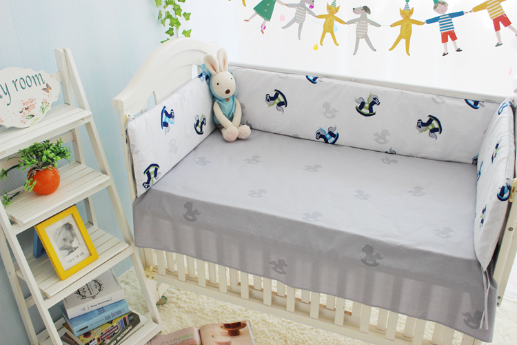 Promotion! 6PCS Baby bed crib piece bedding set baby bedding triangle set Bumper filler bed sheets (bumper+sheet+pillow cover)
