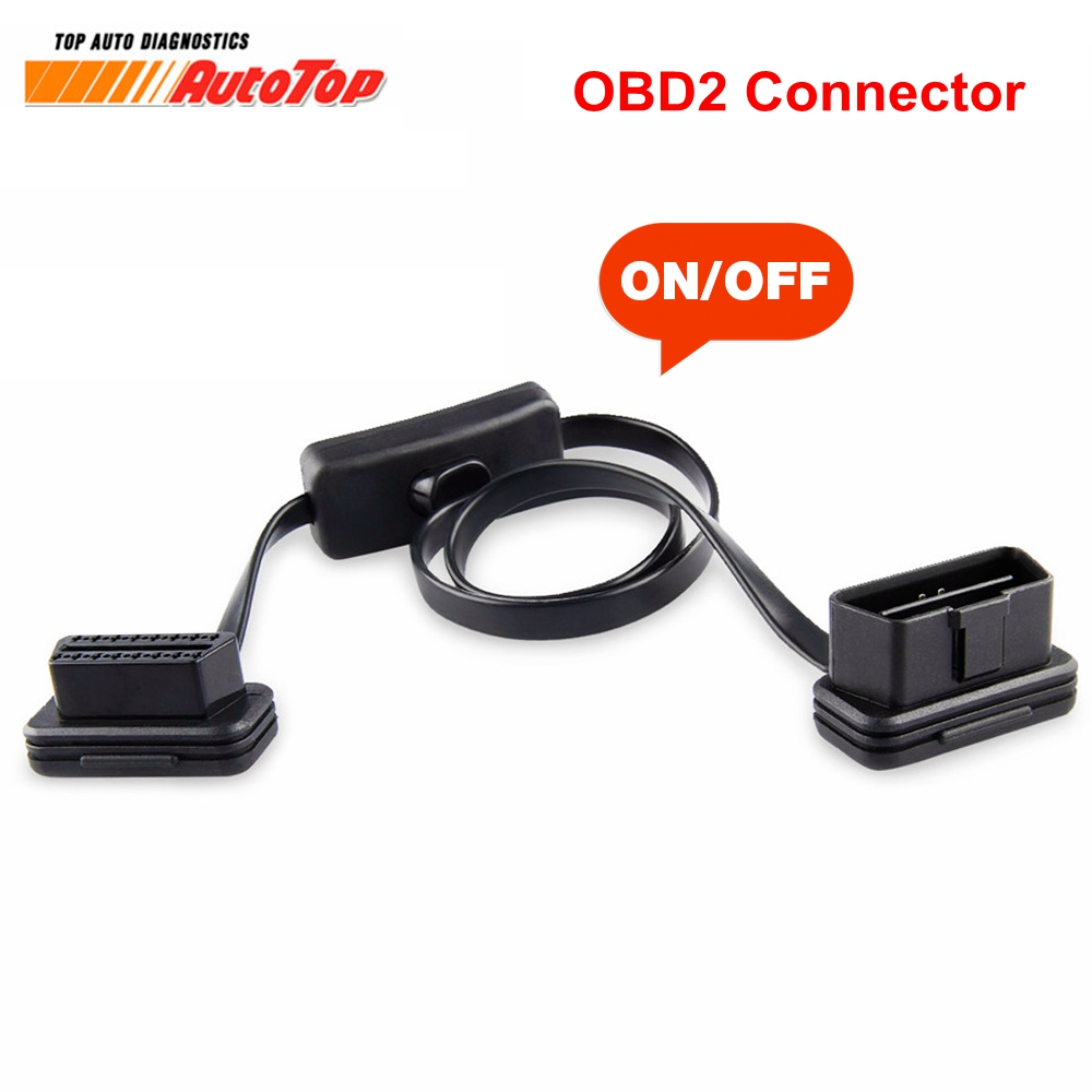 ELM327 Cable To 16Pin OBD2 Connector OBD 2 Cable 16Pin Female Connector OBD II OBD2 with Switch Diagnostic Connector for ELM327 kwokker 1 5m flat thin as noodle obd2 obdii obd 16pin elm327 male to female elbow extension cable diagnostic scanner connector