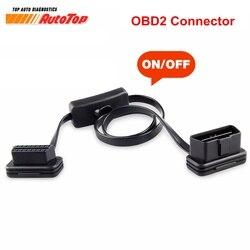 Kabel ELM327 do 16 pinowego złącza OBD2 kabel OBD 2 16 pinowe złącze żeńskie OBD II OBD2 z przełącznikiem złącze diagnostyczne do ELM327 obd 2 cable obd 2obd ii -