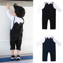 Newborn Kids Baby Boys Clothes Set Gentleman Suit Long Sleeve Shirt Bib Denim Pant Jumpsuit Baby Boy Clothes new недорого