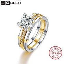 Jqueen 2 шт./лот 925 Серебряное кольцо 18 К позолоченный хвост кольцо 2.6ct топаз Настоящее Silver пару свадебные Кольца Для женщин