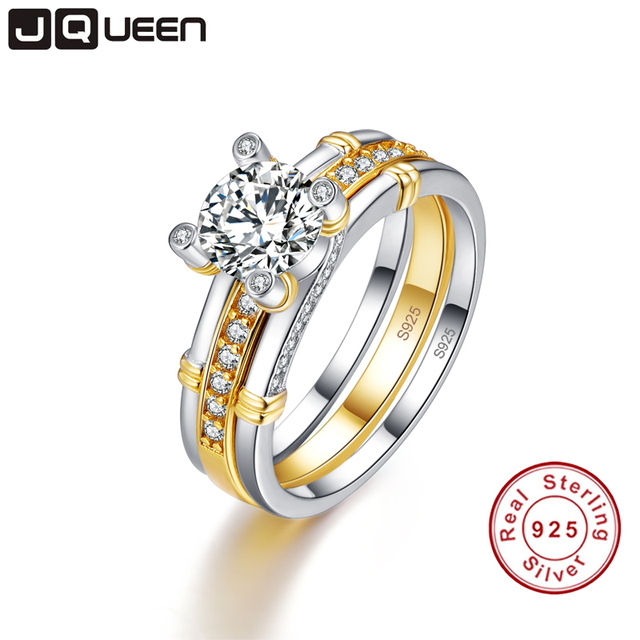 JQUEEN 2pcs/lots 925 Sterling Silver Ring 18k Gold Plated Tail Ring 2.6ct Topaz