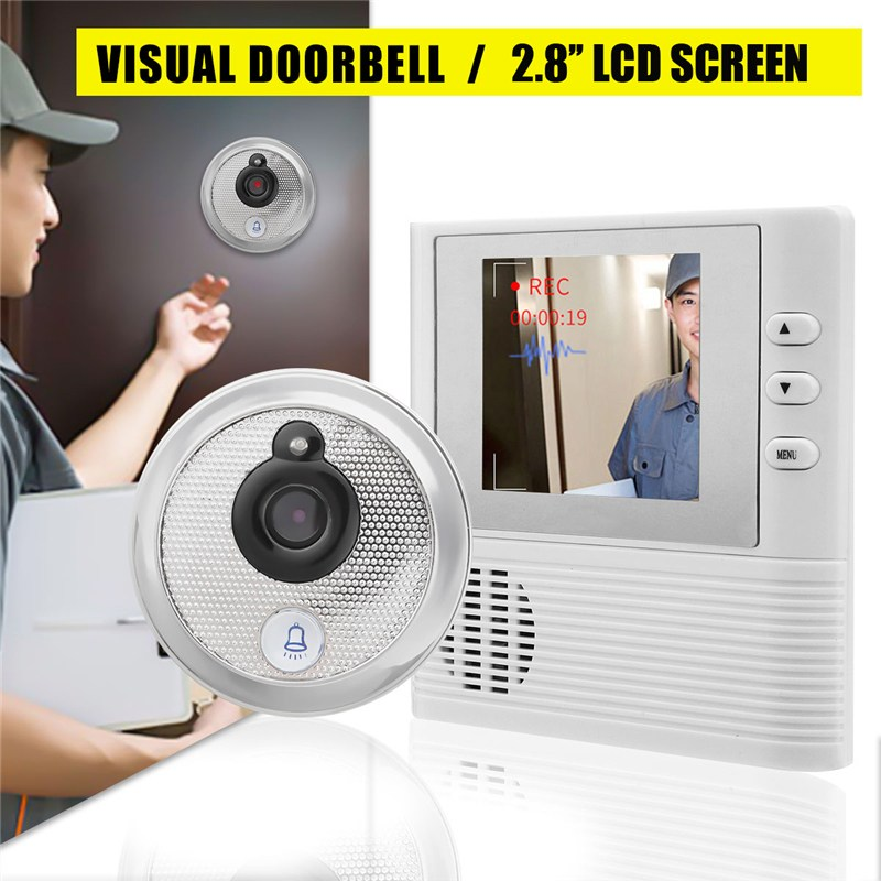 2.8'' LCD Video Doorbell Smart Home System Intelligent Visual Monitor Peephole Camare Viewer Set Intelligent Cat Eye Visual mogood intelligent doorbell camera visual doorbell cat eye type 3 screen with 8g tf memory card