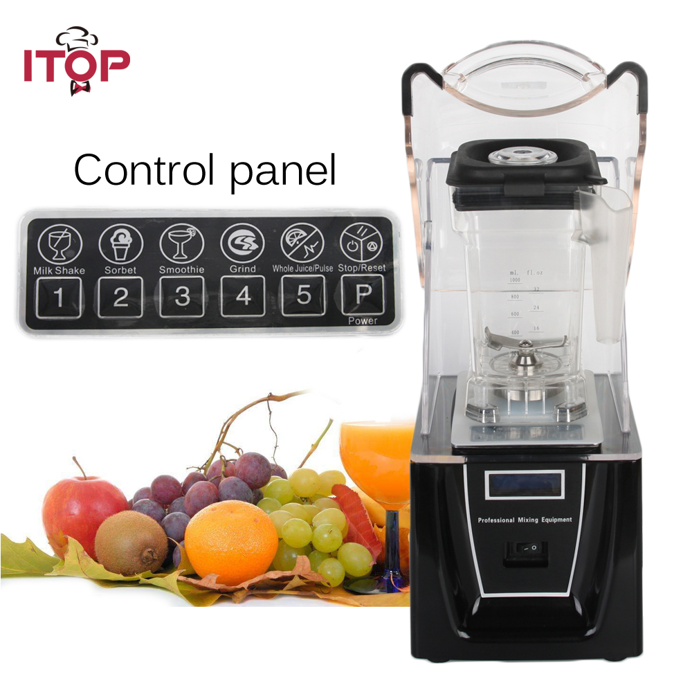 Commercial or Household Blender with Sound Cover 1800W professional bar smoothie blender Food Mixer Juicer 110V