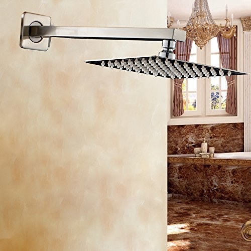 Brushed Nickel Ultrathin 16 Inch Rainfall Shower Head with Wall Mounted Shower Arm 16 inch bathroom rainfall shower head stainless steel 304 brushed nickel with brass arm exclusive air drop technology bd018a