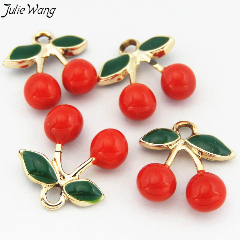 Julie Wang 3PCS Lovely Small Cherry Shape Enamel Zinc Alloy Pendant Charms DIY Women Gift Dangle Necklace Jewelry Bag Finding