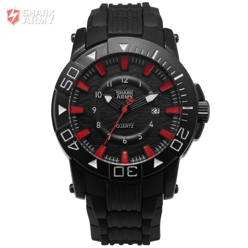 Shark Army Hodinky Men Clock Quartz Black Red Analog Rubber Band Strap Date Display Water Resistant Military Watches / SAW211 voodoo ii shark army auto date black silicone strap military wristwatch sports clock men military quartz wrist watches saw177
