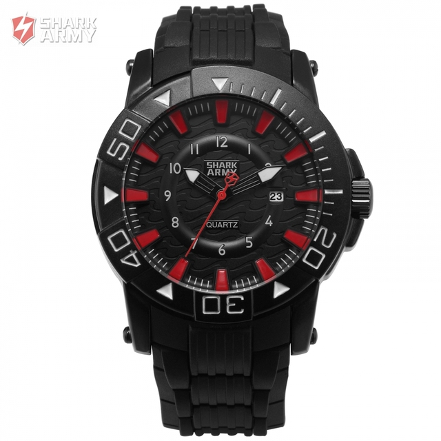 Shark Army Hodinky Men Clock Quartz Black Red Analog Rubber Band Strap Date  Display Water Resistant Military Watches   SAW211 1e3391a09c2