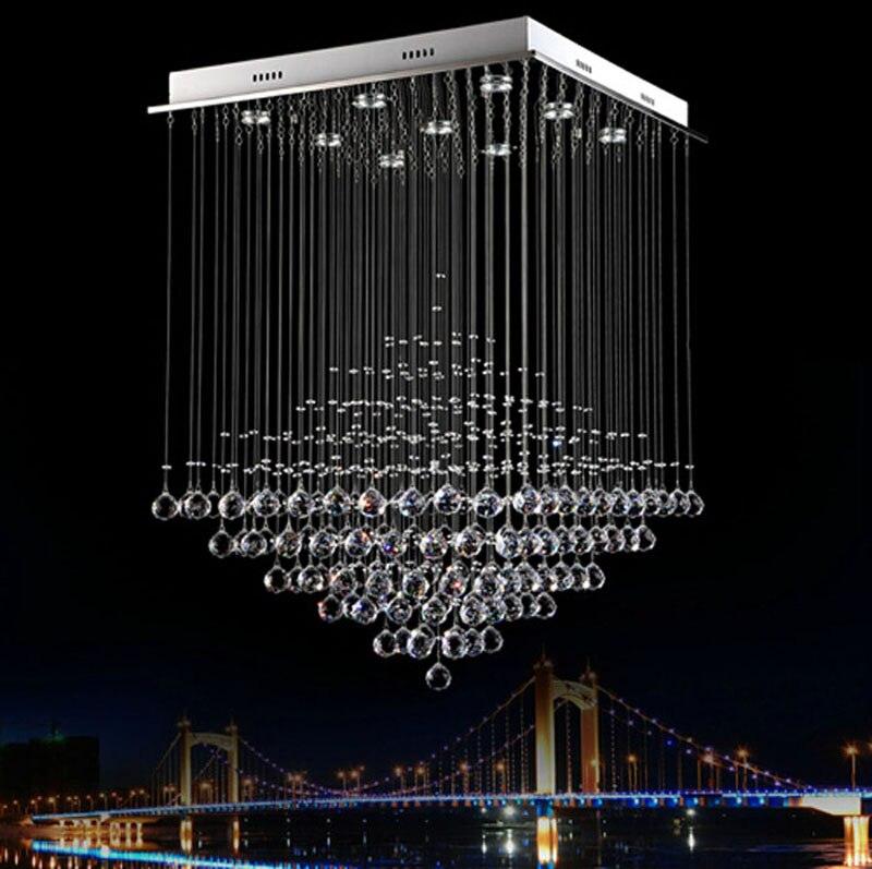 Modern crystal chandelier dining room lights k9 hanging line crystal lamp pyramid living room lights hotel lights bar led lamps