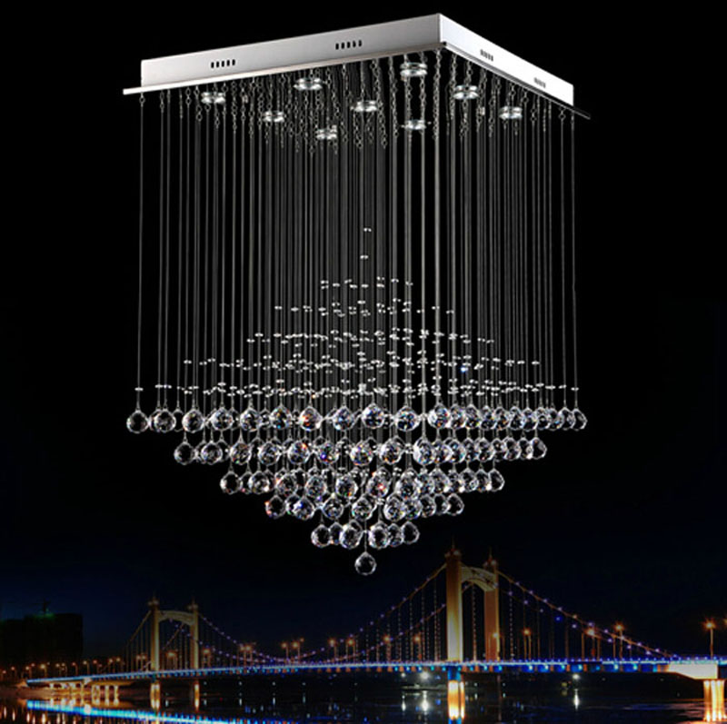 цена на Modern crystal chandelier dining room lights k9 hanging line crystal lamp pyramid living room lights hotel lights bar led lamps