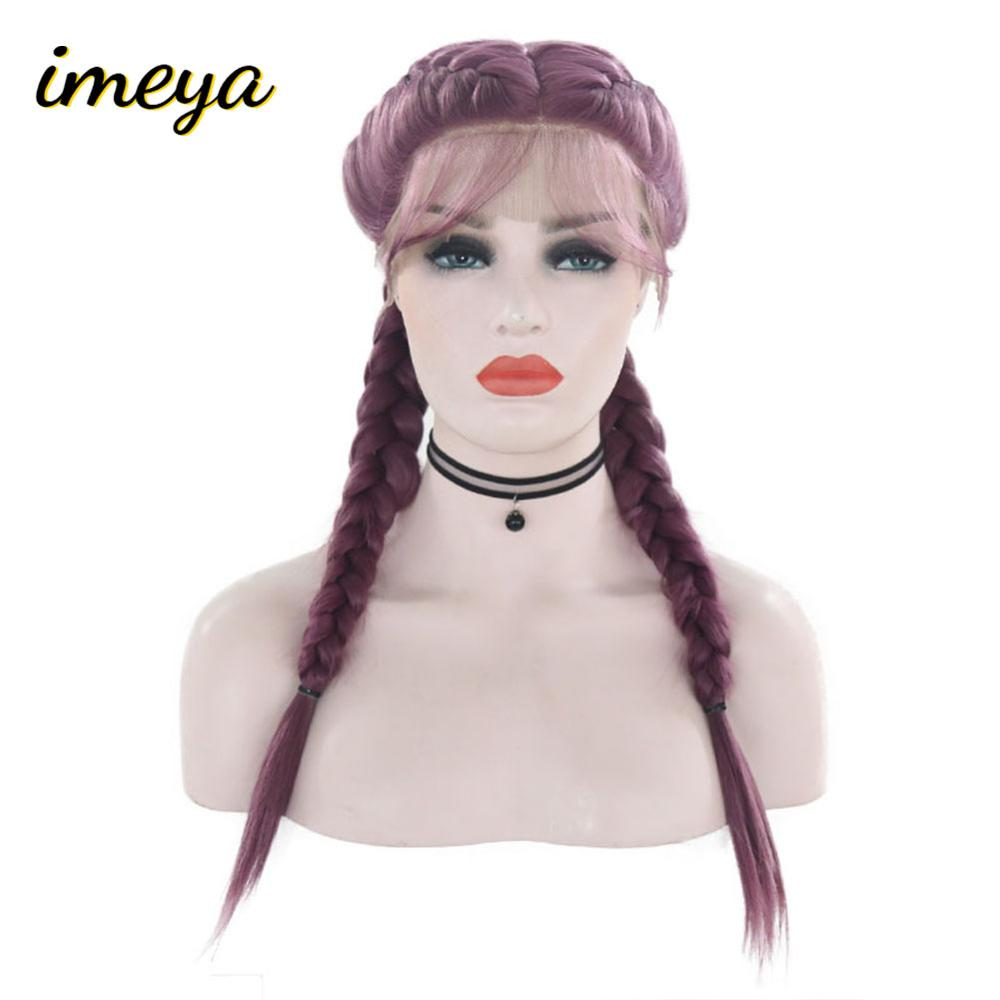 Imeya Purple Hair Double Braid Wigs With Baby Hair Heat Resistant Fiber Synthetic Lace Front Party Wigs For Women