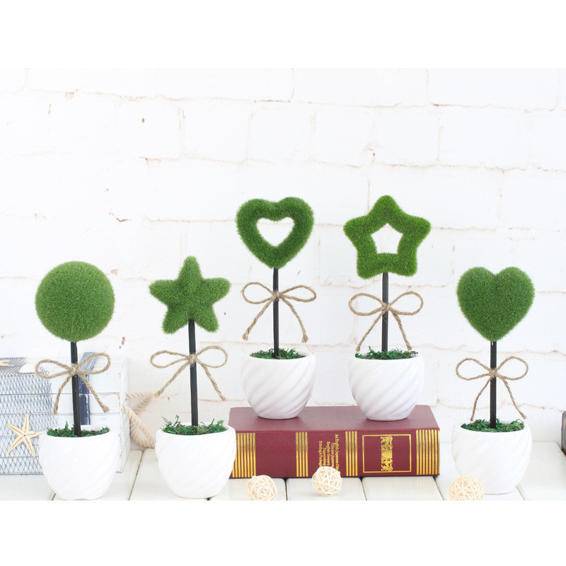 2016 Creative simulation potted plants Flocking love five-pointed star small bonsai grass ball Home decorations ornaments gift
