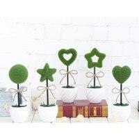 2016 vasos de plantas de simulação Criativo Reunindo amor estrela de cinco pontas-pequeno bonsai grama bola enfeites Para Casa decorações presente