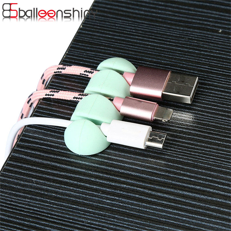 BalleenShiny 2Pcs Silicone Cable Organizer Device Management For Office Home Storage Desktop USB Data Wire Clips Clamp Holder