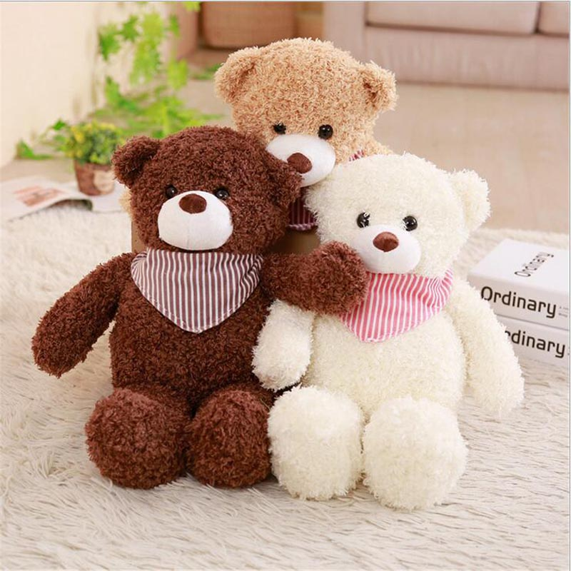 New Arrival Plush Toy Bear Wearing Scarf Stuffed Animal Teddy Doll Gift