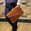 2015 Pu de Couro Embreagens Bolsas De Couro Dos Homens Do Vintage dos homens Casuais Negócio dos homens Carteira Da Bolsa Da Embreagem Saco de Documentos A4 saco