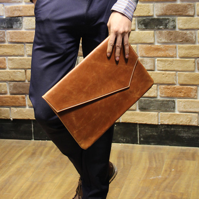 90caa320cb 2017 Pu Leather Men s Clutches Vintage Men Leather Handbags Casual Wallet  Purse Clutch A4 Document Bag