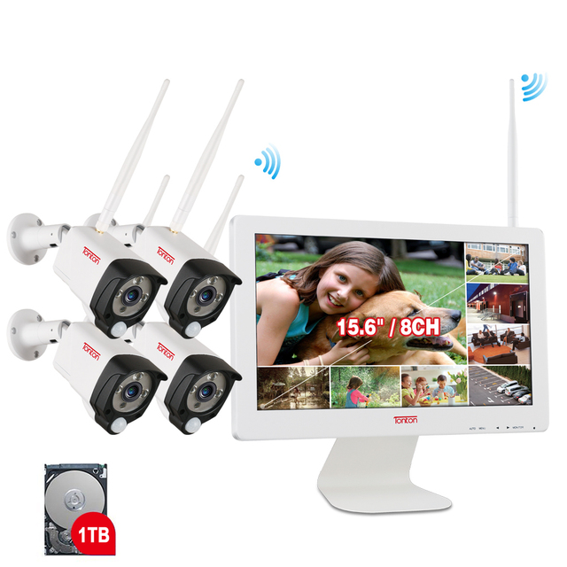 Tonton 8CH 1080P 15.6 inch LCD NVR Wireless CCTV System 2MP Outdoor Security Wifi IP Camera P2P Video Surveillance Kit 1TB HDD