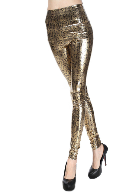 Woman Gold Snake Leather Leggings