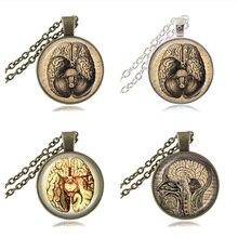 Brain Necklace Anatomy Pendant Anatomical Brain Photo Jewelry Glass Cabochon Neuroscience Psychiatry Pendant Apparel Accessories
