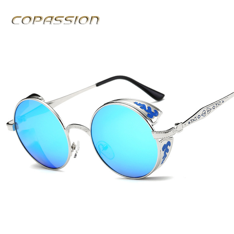 steampunk goggles Polarized Sunglasses women men brand design Round sun glasses oculos retro uv400 Eyewear Vintage gafas de sol