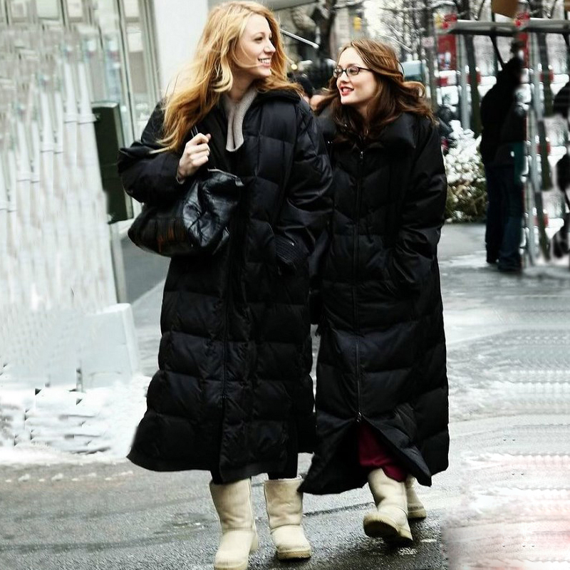Espesar Casaco Abrigo S3378 Negro Blanco Nueva Abajo 2018 Feminino Moda Europa Invierno blanco Caliente X Parkas Ganso Mujeres long Chaqueta Marca Uqw8aa04x